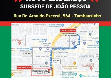 A subsede do CREFITO-1 em João Pessoa mudou de endereço.